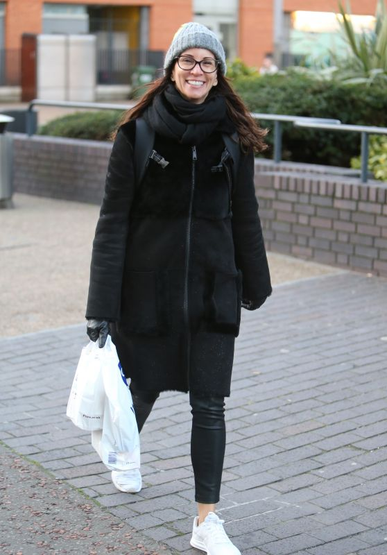 Andrea McLean Winter Street Style - Outside ITV Studios in London 01/30/2018