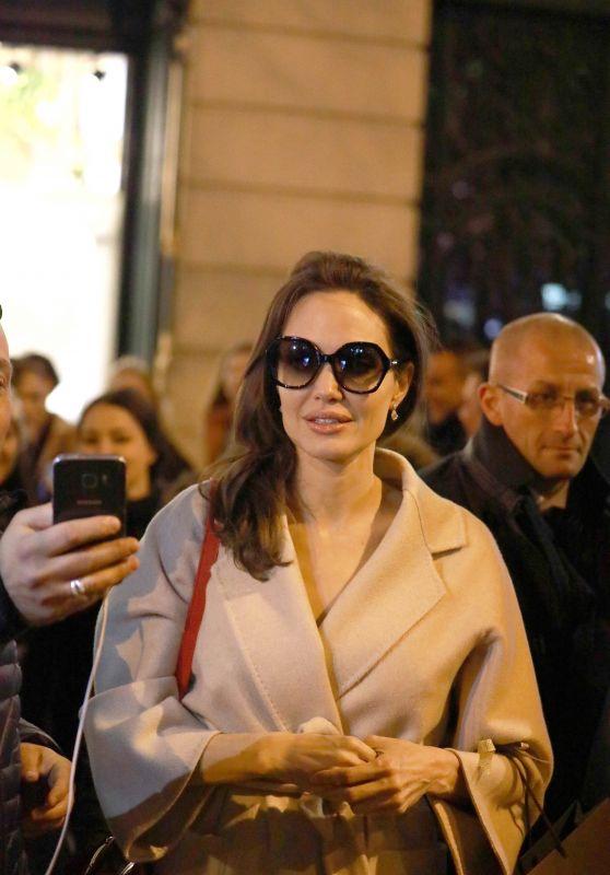 Angelina Jolie at Guerlain Perfumes Shop in Paris