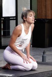 Ashley Hart Teaching a Yoga Class in Los Angeles