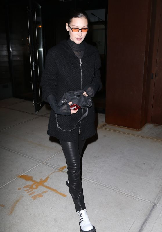 Bella Hadid in all Black in New York City 01/29/2018