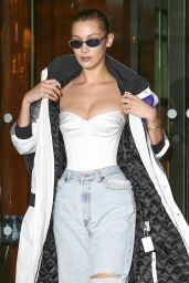 Bella Hadid in Ripped Jeans - Paris 01/23/2018