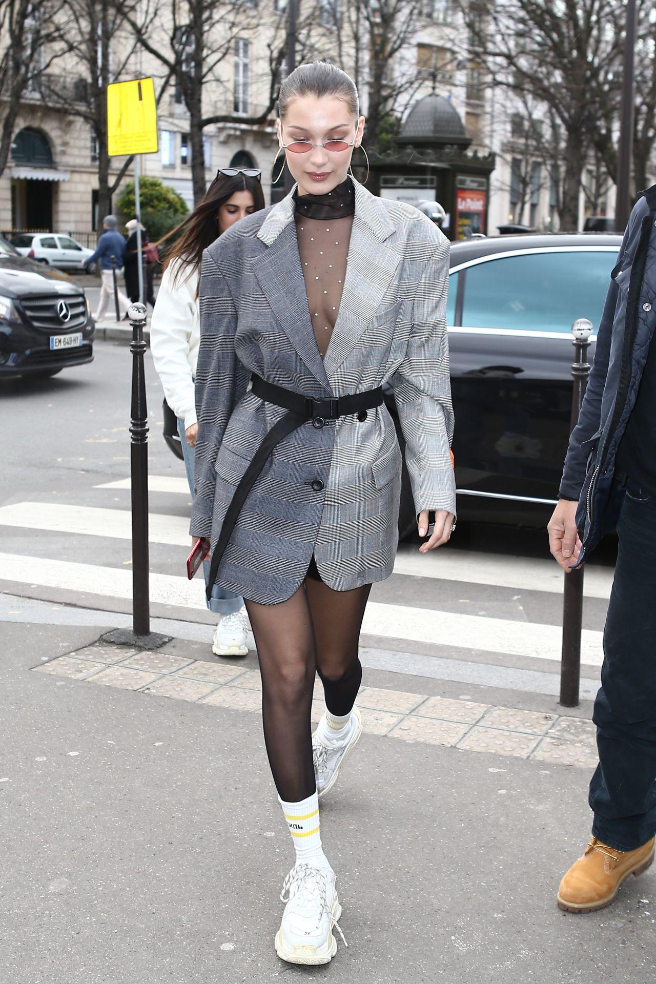 bella hadid street fashion  paris france