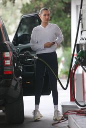 Bella Hadid Street Style - Pumping Gas at the Gas Station in Beverly Hills