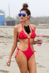 Blanca Blanco in a Red Swimsuit in Malibu