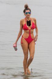Blanca Blanco in a Red Swimsuit in Malibu