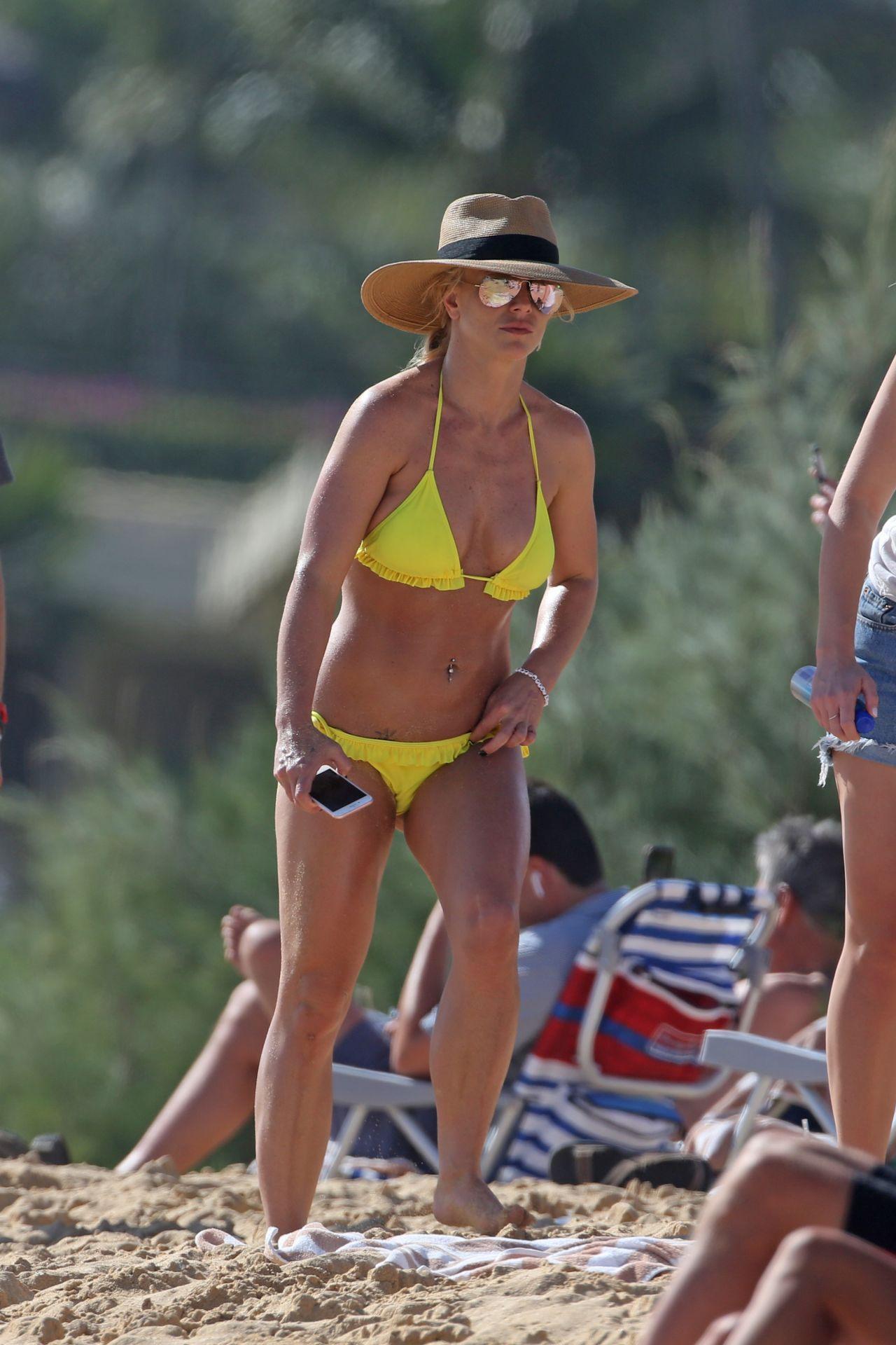 Britney Spears in a Yellow Bikini in Hawaii
