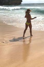 Britney Spears in a Yellow Bikini on the Beach