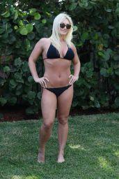 Brooke Hogan in a Black Bikini - Photshoot in Miami