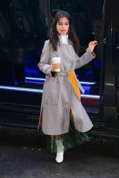 Camila Cabello Looking Chic and Stylish in a Long Grey Coat Out in New York City