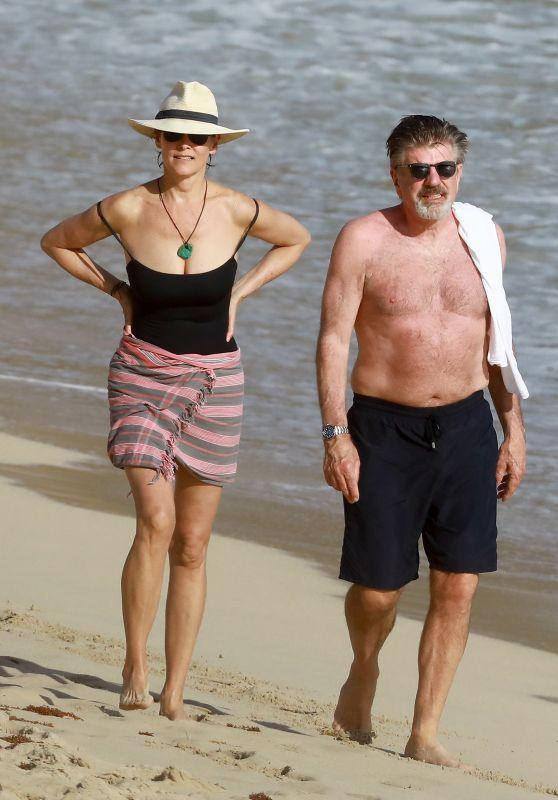 Carey Lowell in St Barts Beach With Her Boyfriend Tom Preston