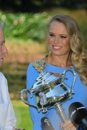 Caroline Wozniacki Poses With Her Trophy in Melbourne