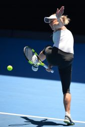 Caroline Wozniacki Practice Session at the Australian Open in Melbourne