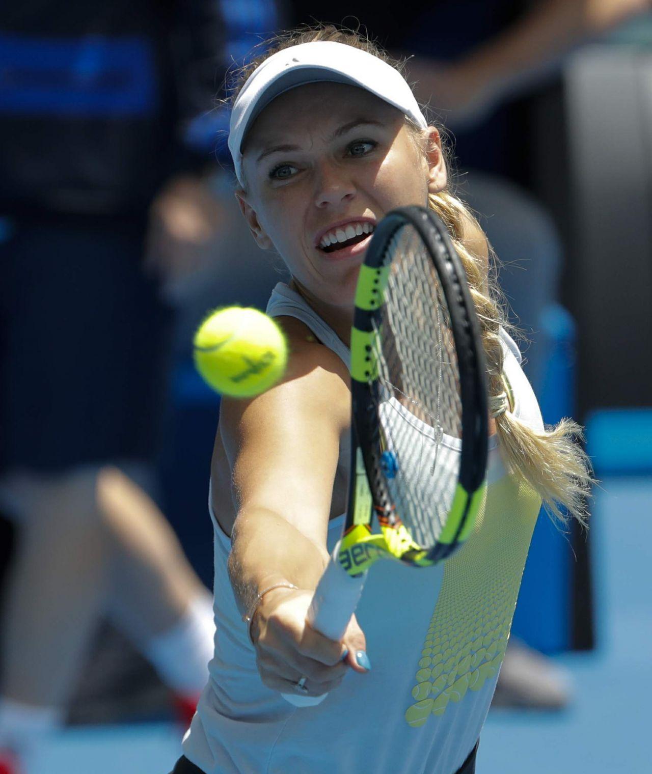 Caroline Wozniacki Practice Session At The Australian Open