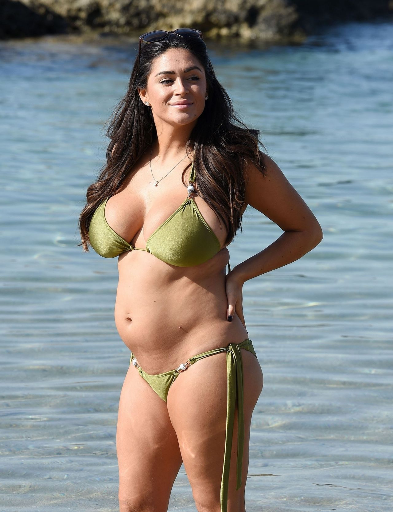 Casey Batchelor in Green Bikini on the beach in Tenerife Pic 1 of 35