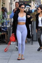 Chantel Jeffries in a Sport Bra and Leggings at Cafe Gratitude in Beverly Hills