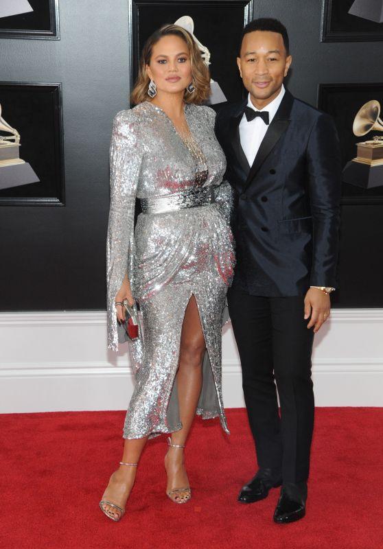 Chrissy Teigen and John Legend – 2018 Grammy Awards in New York