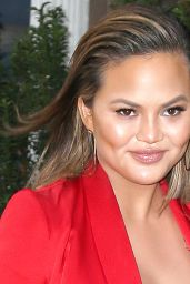 """Chrissy Teigen in Red Lace Dress - Heads to the """"Tonight show with Jimmy Fallon"""" in NYC"""