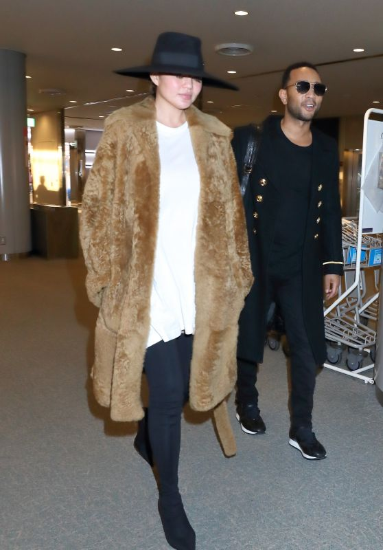Chrissy Teigen in Travel Outfit at Narita International Airport in Tokyo