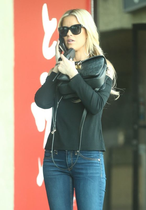 Christina El Moussa in Jeans - Exits a Coffee Shop in Brentwood