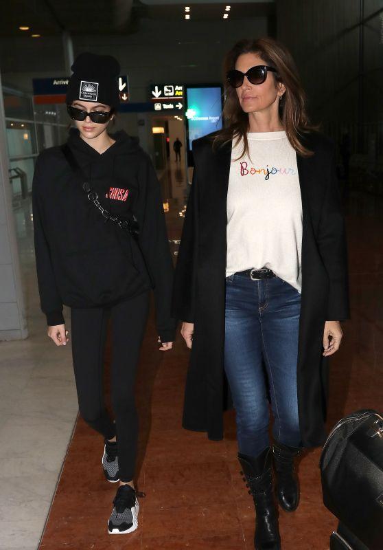 Cindy Crawford and Kaia Gerber at Charles de Gaulle Airport in Paris