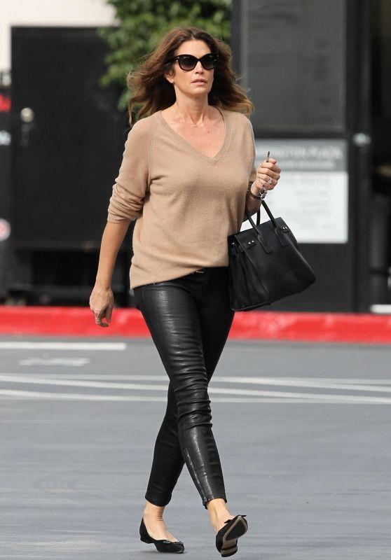Cindy Crawford in Leather Leggings - Santa Monica 01/25/2018