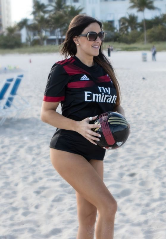 Claudia Romani in AC Milan Shirt on the Beach in Miami