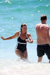 Deborah Hutton in a Swimsuit at Bronte Beach