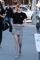 Emma Roberts Leggy in Mini Skirt - Shops at the Melrose Trading Post in LA