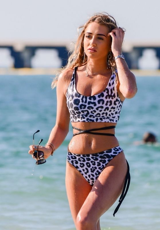 Georgia Harrison in in Snow Leopard Print Bikini in Dubai