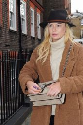 Georgia Toffolo Winter Style - Leaving the Bluebird Restaurant in Chelsea