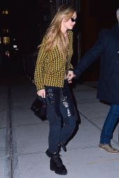 Gigi Hadid in a Black and Yellow Ensemble Out in NYC