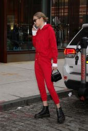 Gigi Hadid in a Red Sweatsuit in NYC