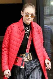 Gigi Hadid is Stylish in Red - New York City 01/23/2018