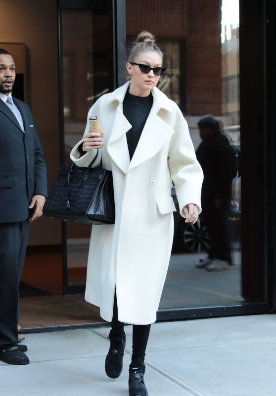 Gigi Hadid is Stylish in White and Black - Leaving Her Home in NYC