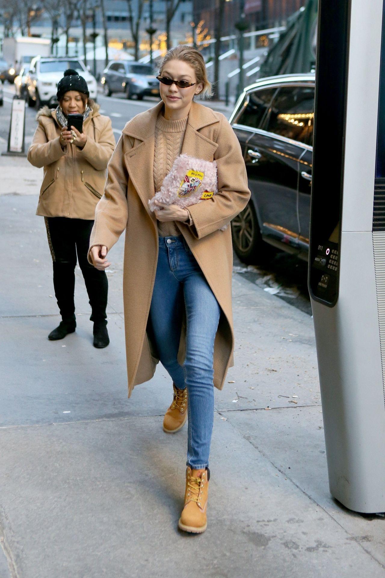 Gigi Hadid Winter Street Fashion New York 01 13 2018