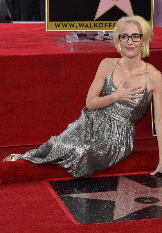 Gillian Anderson in Silver Dress - Walk of Fame Star Ceromony in LA