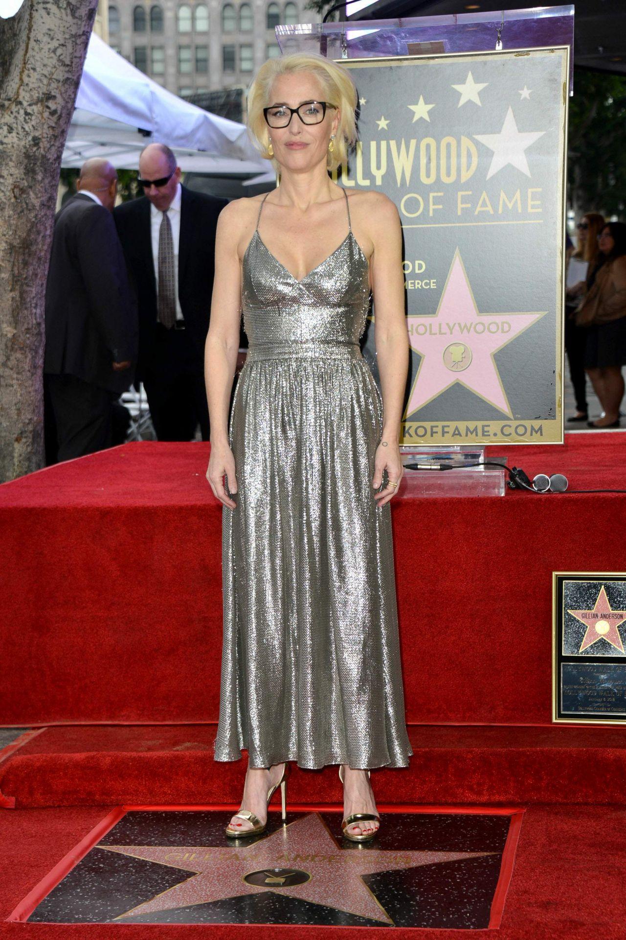 Gillian Anderson In Silver Dress Walk Of Fame Star