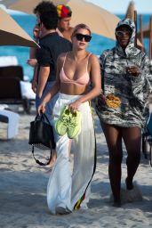 Hailey Baldwin in a Pink Bikini at the Beach in Miami