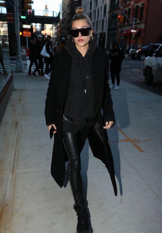 Hailey Baldwin Winter Style - New York City 01/25/2018