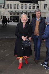 Helen Mirren Wearing Bright Red Heels - Leaving BBC Radio One in London