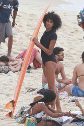 Imaan Hammam in Bikini at Ipanema Beach in Rio de Janeiro