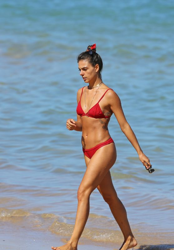 Isis Valverde in Red Bikini on the Beach in Hawaii