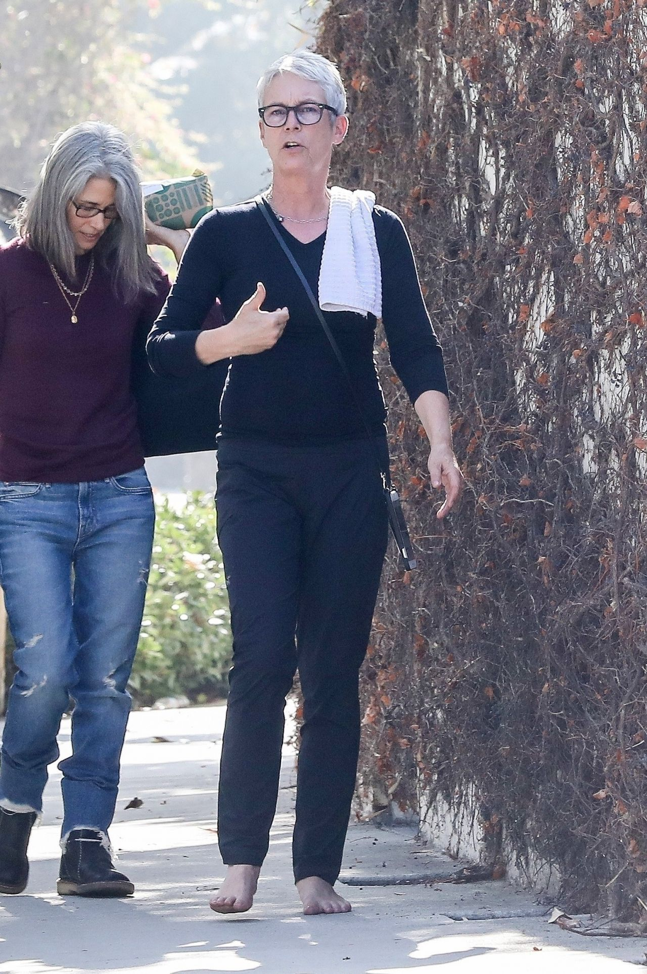 Jamie Lee Curtis Goes For A Walk With A Friend In Santa Monica