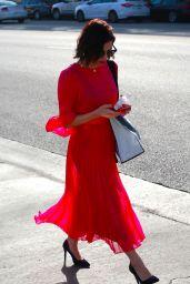 Jenna Dewan in a Bright Red Dress in Beverly Hills