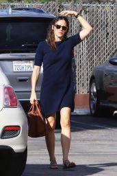 Jennifer Garner in a Blue Dress at Church for Sunday Service