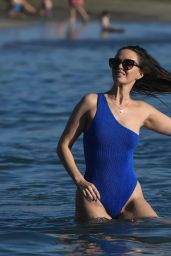 Jennifer Metcalfe in a Blue Swimming in Tenerife