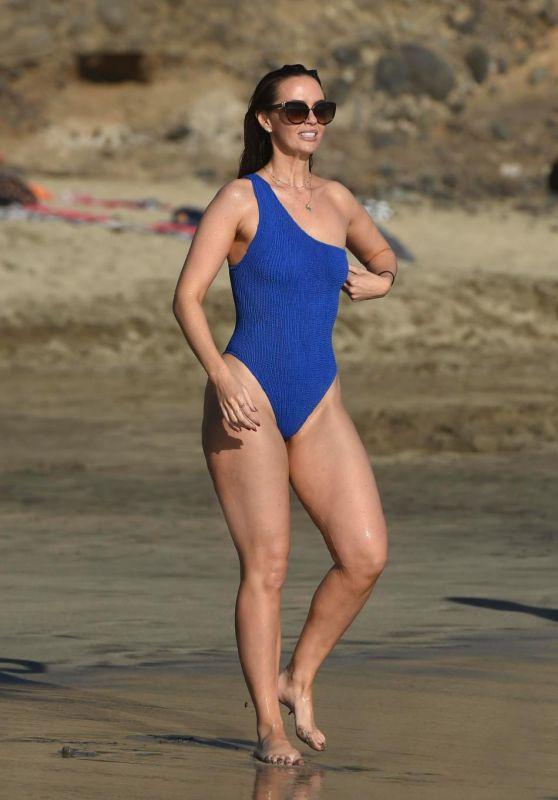 Jennifer Metcalfe in a Blue Swimming in Tenerife