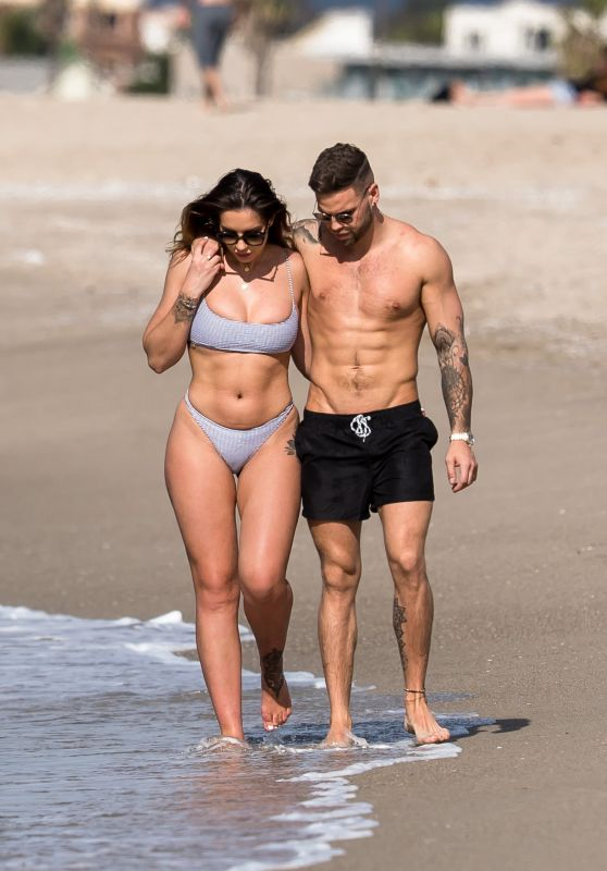 Jessica Shears and Fiance Dominic Lever at the Beach in Santa Monica