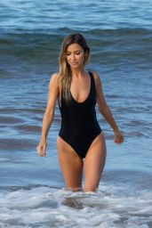 Kaitlyn Bristowe in a Black Swimsuit on the Beach in Hawaii