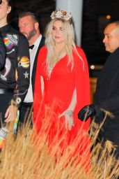Kesha in a Red Gown Dress - Arriving at the Grammys 2018 After Party in New York City